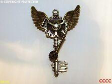 Steampunk broche insignia con llaves de plata Bronce Owl Alas Rueda Dentada COGS Harry Potter