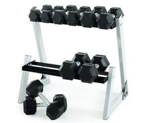 Weider Dumbbell Set & Rack Rubber Hex Dumbbells Home Exercise Gym Equipment New