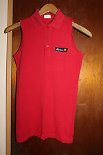 Ellesse Red Sleeveless Women's 3 Button Polo Shirt Size Small