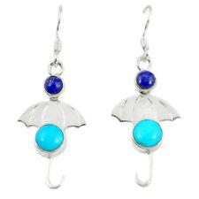 Blue Sleeping Beauty Turquoise 925 Silver Dangle Earrings Jewelry D14205