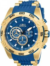 New Mens Invicta 25508 Speedway Viper Chronograph Blue Dial Rubber Strap Watch