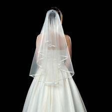 2 Tier Bride White/Beige Bride Elbow Beaded Edge Pearl Veil Wedding Party Access