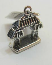 Sterling Silver 925 Charm Pendant - Chinese Oriental Gate - NEW