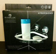 Everloc Xpressions Stainless Steel Patented Suction System Corner Basket Shower
