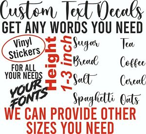 Word Decals Personalised Lettering Stickers Custom Vinyl Text Labelling Glass