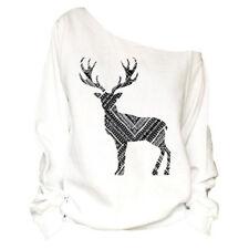 Womens Christmas Ladies One Shoulder Sweatshirt Pullover Jumper Tops Blouse Xmas