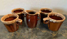 Vintage Hull Coffee Mugs Cups And Creamer Brown Drip Pottery USA Oven Proof