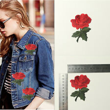 2X Red Rose Flower Embroidery Applique Cloth DIY Sewing & Iron on Patch Badge