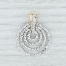 85ctw Diamond Layered Circle Pendant - 14k Yellow White Gold Enhancer Statement