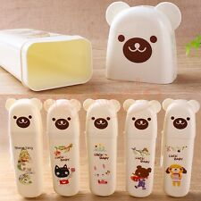 Portable Cute Cartoon Bear Toothbrush Holder Travel Carry Case Tube Cover 5-Type