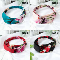 Women Floral Print Elatic Headband Twist Hair Band Head Wrap Hair Accessory