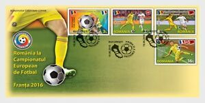 2016  ROMANIA    - EUROPEAN FOOTBALL CHAMPIONSHIPS SET ON FIRST DAY COVER