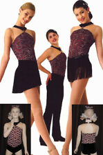HEAT WAVE Dance Costume Tap Red and Black Glitter LEOTARD ONLY Child Medium New