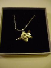 """Northrop YF-23 c74 Fighter Aircraft On a 18"""" Silver Plated Curb Chain Necklace"""