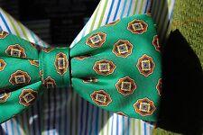 Bow Tie Club Gentleman's Green, Gold, & Navy Blue Print Silk CLIP-ON Bow Tie USA