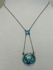ANTIQUE ART NOUVEAU (CHARLES HORNER?) STERLING SILVER BLUE ENAMEL NECKLACE