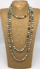 Fashion semi precious stone 36inch long knot Amazonite Stones Necklace woman
