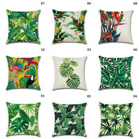 Bird Tropical Plant Leaf Linen Cushion Covers Throw Pillow Case Home Car Sofa