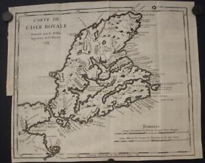 CAPE BRETON ISLAND NOVA SCOTIA CANADA 1744 BELLIN ANTIQUE COPPER ENGRAVED MAP
