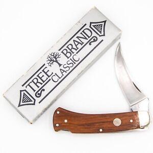 1978-84 German BOKER Pocket Knife 1001 UPSWEPT SKINNER LOCKBACK Wood MINT+BOX