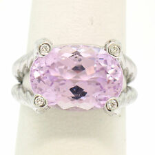 14k White Gold Twisted Cable 8.5ct Oval Kunzite Solitaire Ring 4 Diamond Accents