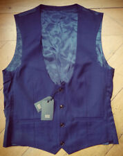 AUSTIN REED Mens Blue Navy 100% Wool Waistcoat Business Suit Vest 40R BNWT