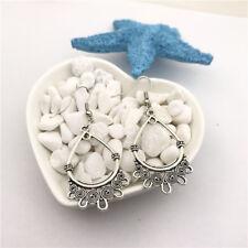 Teardrop Flower Earrings Tibet silver Charms Earrings Charm Earrings for Her