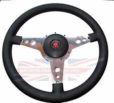 "New 13"" Leather Steering Wheel w/ Adaptor Hub Jaguar XKE E-Type Moto-Lita"