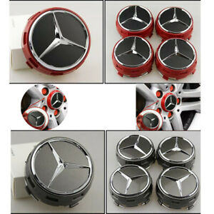 4 Wheel Center Hub Caps Emblem 75MM Fit Mercedes Benz Rims 3D Logo Bonnet