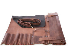Lightweight premium Leather Chef Knife Bag/Chef Knife Roll 8 Pockets Tan Leather