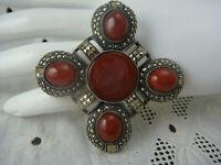 Judith Jack JJ Sterling Silver Carnelian Roman Cameo Maltese Cross Pin Brooch