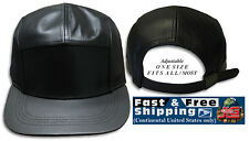 Leather 5 Panel Cap Adjustable Strap back Hat Black NEW JLGUSA