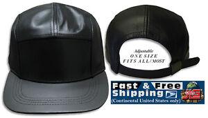 Leather 5 Panel Cap Adjustable Strap back Hat Black NEW JLGUSA