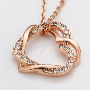 18k Rose Gold Filled Shiny Crystal Love Heart Pendant + Chain Necklace Y030