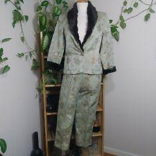 Sage Green Connie Roberson Pants Suit with faux fur trim