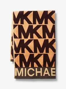 """MICHAEL KORS Luxe Logo Cotton Beach Towel Brown/Acorn 70""""x30"""" IN SEALED GIFT BOX"""