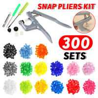 300pcs Set T5 Snap Buttons DIY Craft KAM Snaps Plastic Poppers Fasteners + Plier