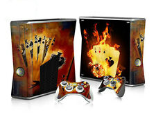 Xbox 360 slim skin Design volets Autocollant Film de protection set-Burning Cards motif