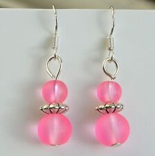 Pink Glass Earrings Sterling Silver Hooks Frosted Glass Beads New Drops LB52