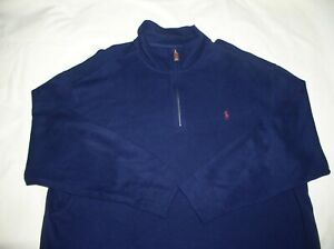 RALPH LAUREN POLO Pullover Shirt,3XL,BIG,1/4 Zip,Dark Blue,Cotton,Ex Cond,3XB