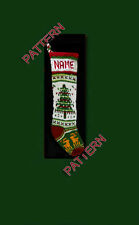 Pattern only ~ hand knit Christmas stocking,large Christmas tree, holly and deer