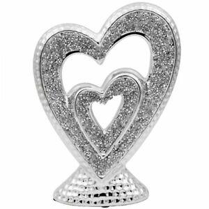 Silver Sparkle Sculpture Indoor Heart Decorative Diamante Art Statue Ornament