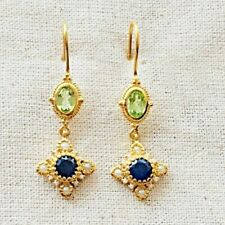 Incredible Sapphire,Pearl & Peridot 14k Gold Over Sterling Silver Earring