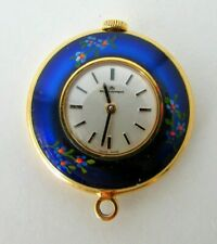 BUCHERER SWISS BLUE ENAMEL FLORAL PAINTED MANUAL WIND PENDANT WATCH EXCELLENT!