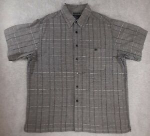Mens 2XL Shirt Adult Casual Button Down Short Sleeve Gray Check Marc Edwards