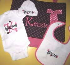 Personalized Baby CREEPER One Piece T Shirt HAT BIB & Diaper TOTE BAG Gift Set