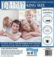 MICROFIBER ZIPPERED MATTRESS COVER, BED BUG PROTECTOR, HYPOALLERGENIC, KING