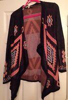 Aztec Print Open Front Cardigan Sweater Asymmetric Hem