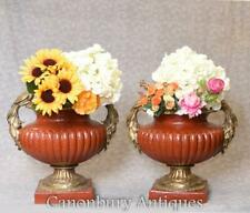 More details for pair french empire porcelain urns ormolu pheasant handles craqueleture