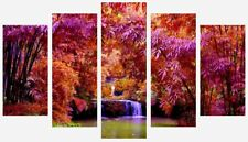 Pink Orange Forest Waterfall Trees Nature Wall Art 5 Split Panel Canvas Pictures